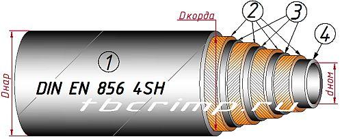 Шланг высокого давления DIN EN856 4SH ISO3862-1 4SH DIN20023 ГОСТ 25452-90 четыре навивки