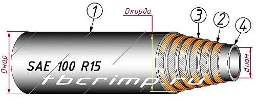 Шланг высокого давления SAE 100 R15, ISO 3862-1 R15 навивка и 4 и 6 слоев превышает ГОСТ 25452-90